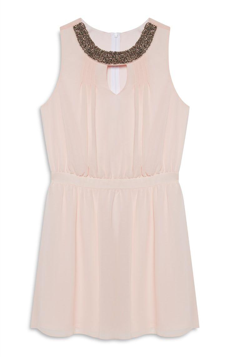 Pink Embellished Chiffon Dress