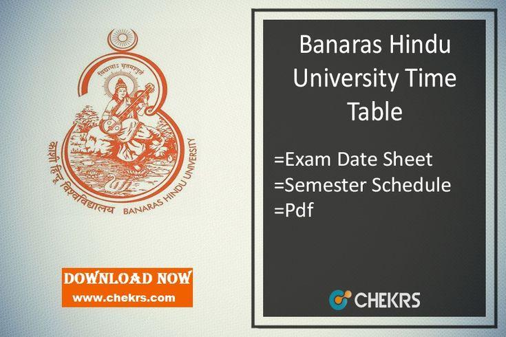 Banaras Hindu University Varanasi Time Table 2018 Download