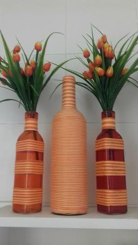 Cinco lindas garrafas decoradas                                                                                                                                                                                 Mais