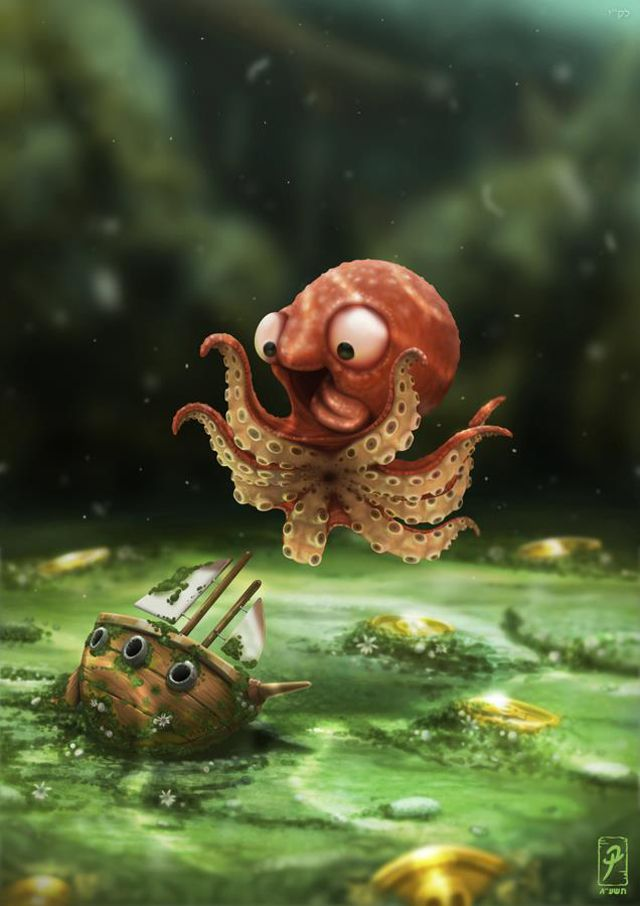 Israeli artist Barak Ashraf has created an adorable illustration that features a young kraken who is happily playing and training for its destructive future. image via Barak Ashraf via reddit, Neat....