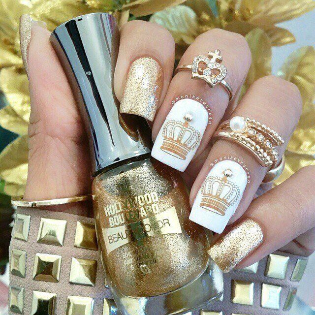 Beautiful evening nails, Beautiful nails 2016, Crown nails, Evening dress nails, Evening nails, Fashion nails 2016, Glamorous nails, Gold nail ideas