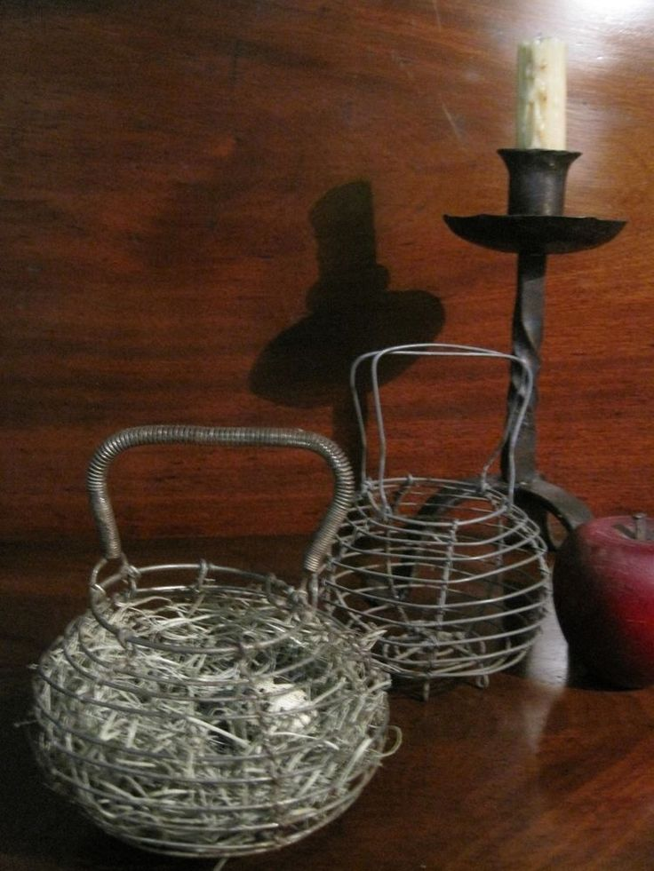 Antique Woven Egg Basket : Antique s new england pair miniature woven wire egg