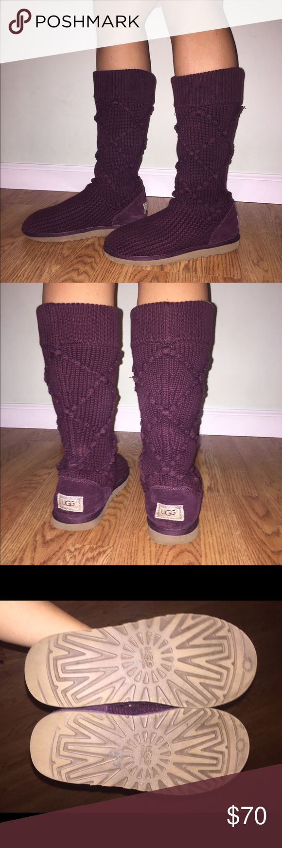 Argyle Knit Purple Uggs Size 8 - gently worn purple uggs UGG Shoes Winter & Rain Boots
