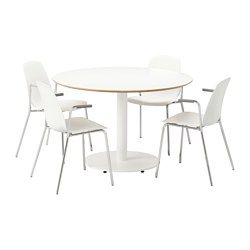 BILLSTA / LEIFARNE, Table and 4 chairs, white, white
