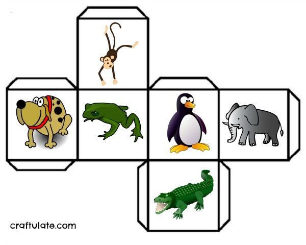 This animal movement game involved throwing a cube that features a frog, penguin, crocodile, dog, monkey and elephant.