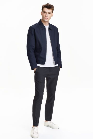 Suit trousers: Modern Essentials selected by David Beckham. Trousers in a textured weave with elastication and a concealed drawstring at the waist, zip fly and concealed hook-and-eye fastener at the front. Side pockets, one jetted back pocket and tapered, slightly shorter legs with creases. Slim fit.