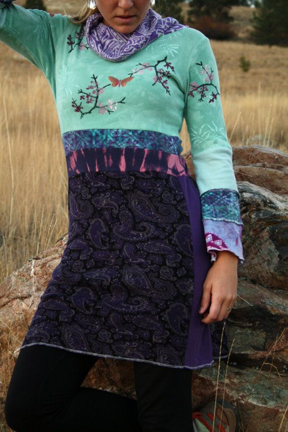Crocus Blossom Eco/Upcycled Tunic Dress Size by DarkstarHandmade love love love this. Do I have appropriate fabric on hand? Nearly all!