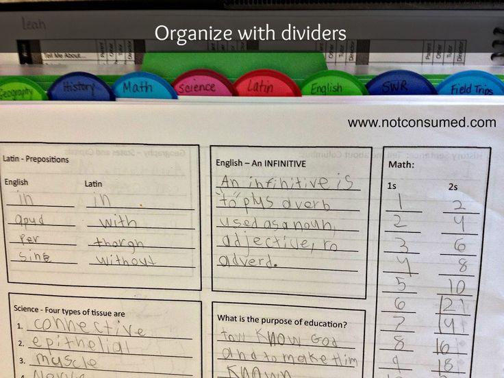 Organizing a Classical Conversations notebook: the Dividers. www.notconsumed.com - a MUST for cycle 2!!!