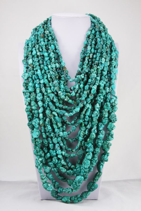 Style# LBN78: Multiple Strands of Blue Turquoise Necklaces. Retail $250-$500
