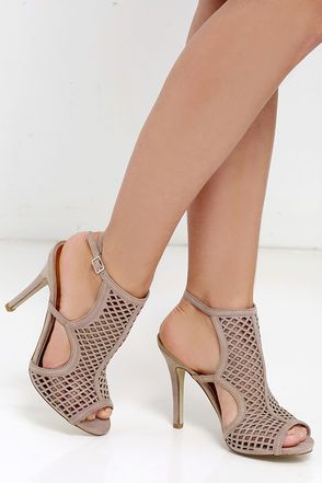 Madden Girl Regalll Taupe Suede Caged Heels at Lulus.com!