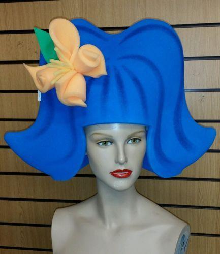Sponge-foam-wig-hat-head-dress-60s-style-blue