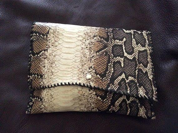 Leather Clutch Bag Snake Print Cowhide Minimalist OOAK