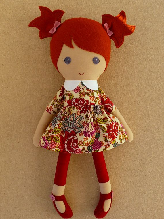 Reserved for MrsJGray - Fabric Doll Rag Doll Red Haired Girl in Maroon and Pink Floral Print Dress