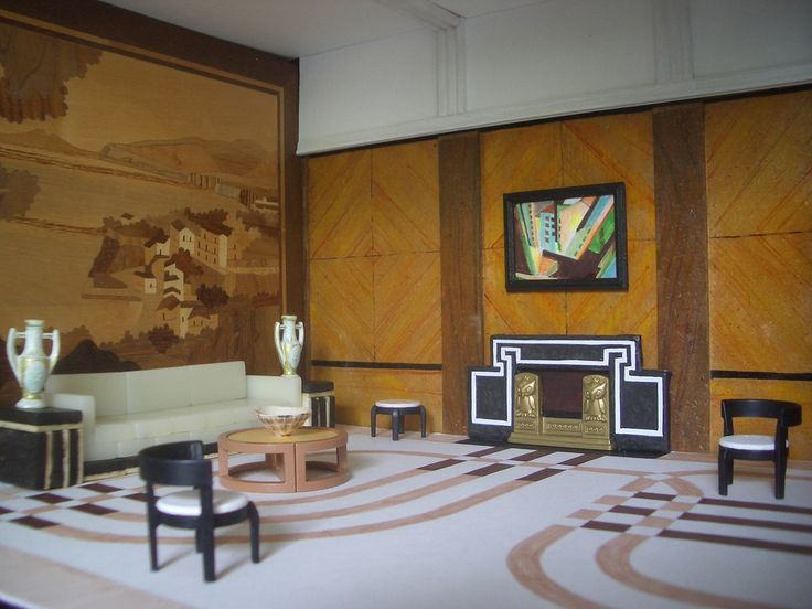 Art Deco Living Room Dollhouse Pinterest