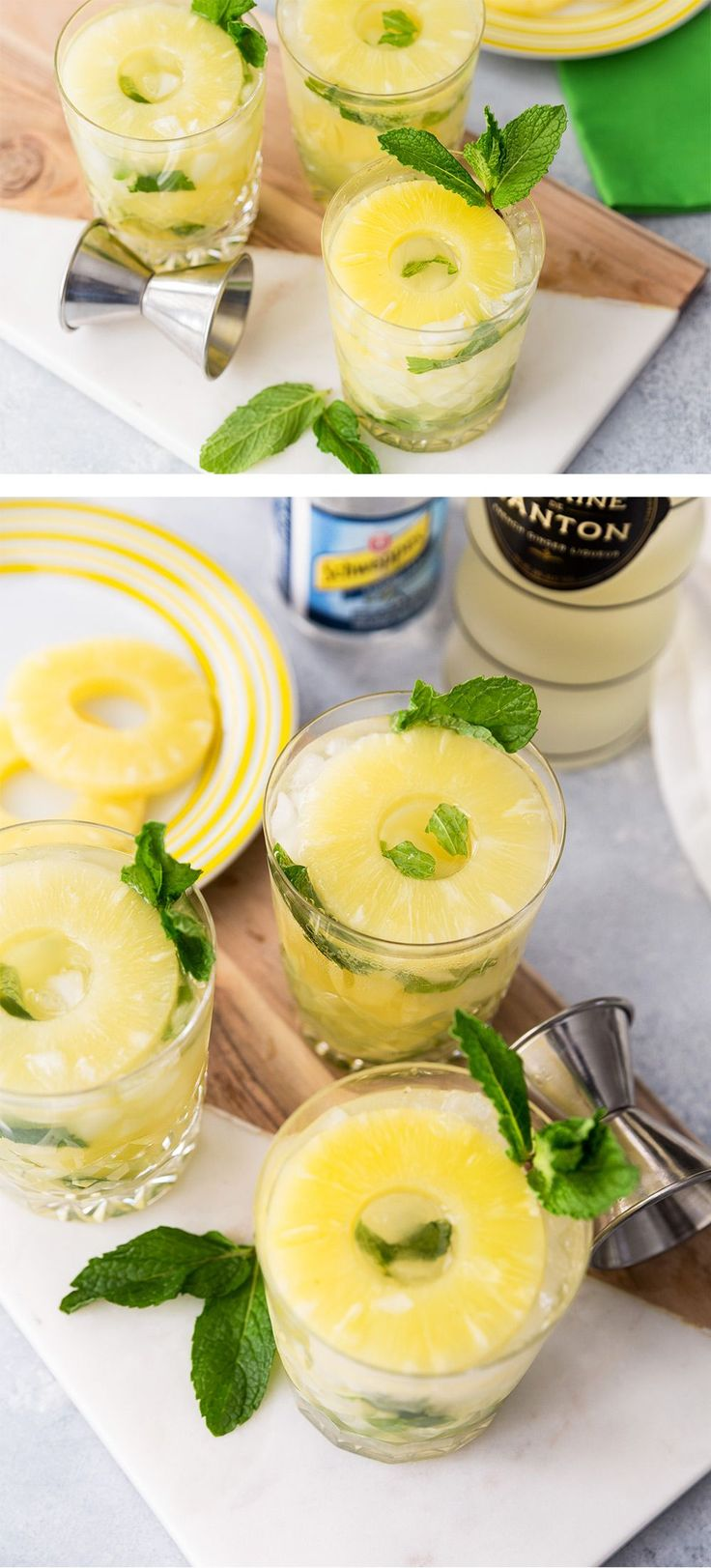 Pineapple Ginger Mojitos, refreshing cocktail recipe #cocktailrecipes