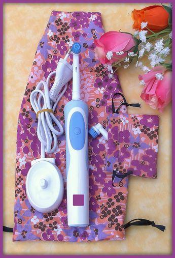 Pochettes tissu motif fleurs pour brosse à dent électrique voyage : Accessoires pour bijoux par orkan28