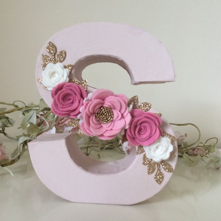 Beautiful freestanding light weight paper mâché letter decorated with handmade felt flowers and glitter leaves. The letter measures approx 17cm.  These letters can be painted in pink or white. If you would like a letter painted in a different colour please request a custom order.  I have included felt and glitter colour charts in the photos and I can make the flowers and leaves in any colours you choose. Please add a note to your order letting me know the following: 1. The felt colours yo...