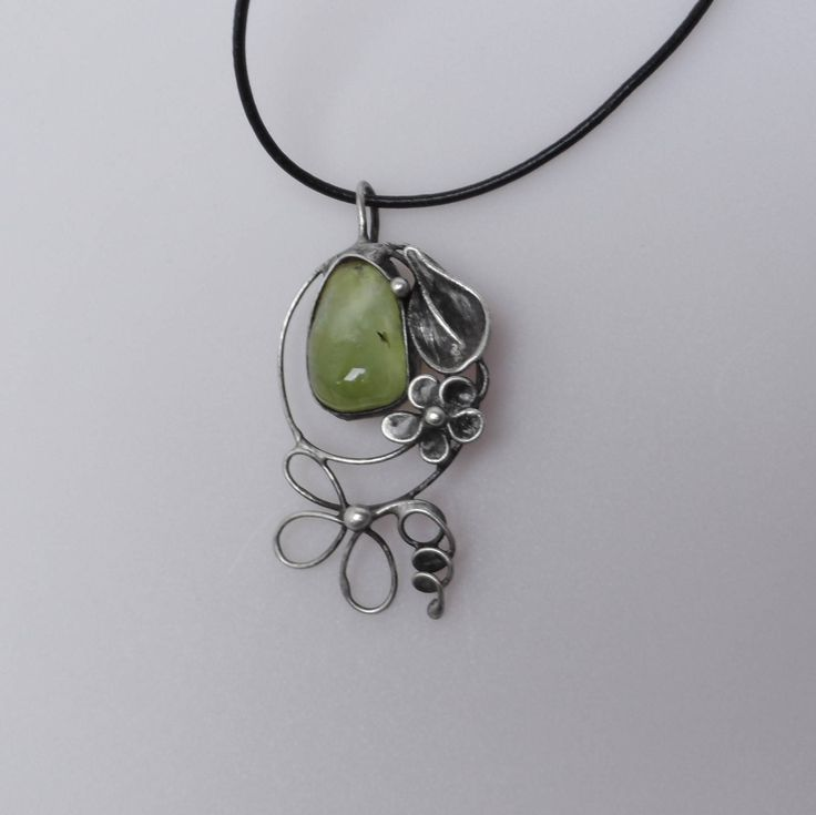 Metal necklace with Gemstone prehnite reservaton forJill .Pendant is handmade.Tiffany technique, Healing Stone, jewellery . by Helenamode on Etsy