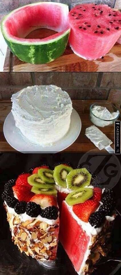 Watermelon cake with fruit and nut toppings. Moore Pediatric Dentistry - pediatric dentist in Roseville, CA @ moorepediatricdentistry.com