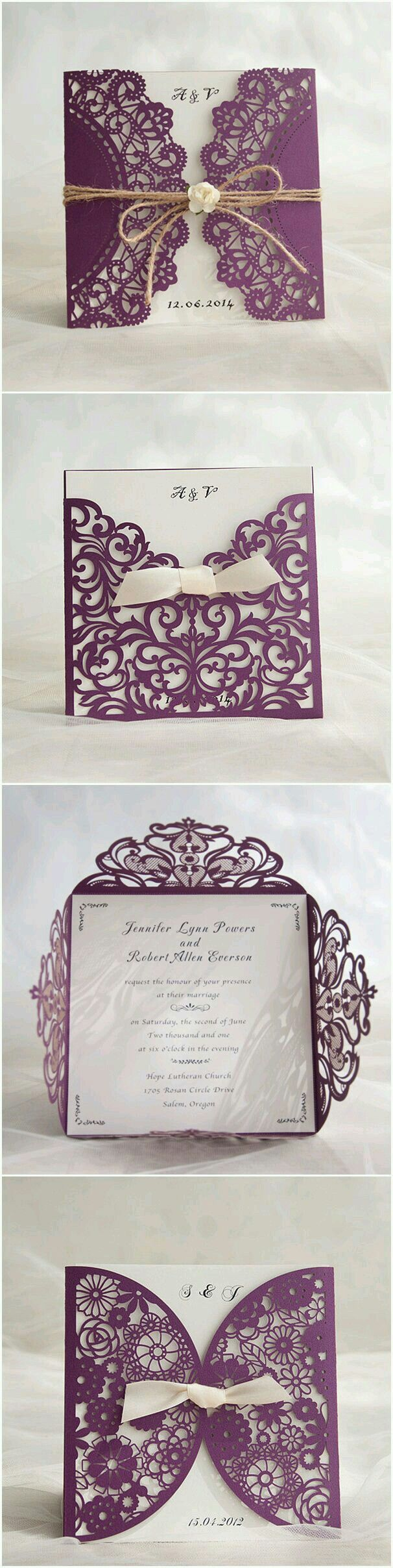 wedding invitation card format marathi wording%0A Purple Themed Chic Rustic DIY Laser Cut Wedding Invitations Feel free to  delete Just looking at possible DIY invitations inspirations for you
