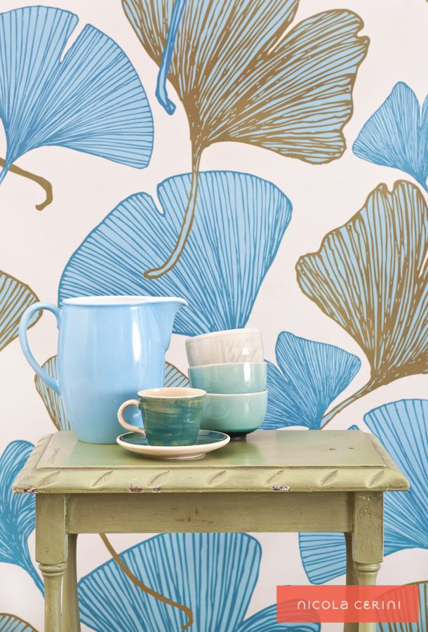 Ginkgo Blue/Green Wallpaper www.nicolacerini.com