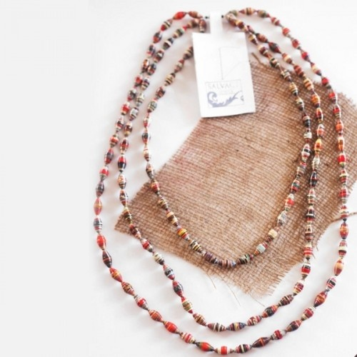 Made by women in our community projects, this necklace sports 135 beads made out of recycled magazines donated by local advertising agencies. At the Salvage workshop they match the beads for each piece, making it a one-of-a-kind.  $20  http://www.salvagesrilanka.com/index.php?route=product/product=57_id=29