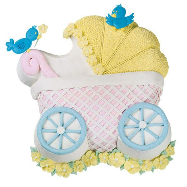 Captivating Birds, Blooms And Basketweave Texture Bring Delightful Dimension To A Baby  Buggy Pan Cake.