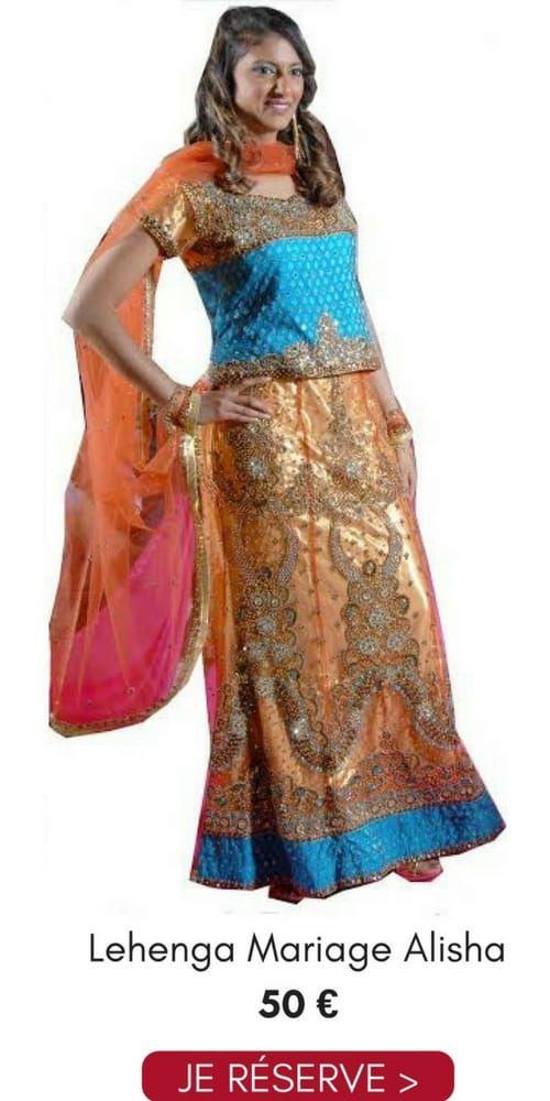 Location Lehenga Choli Mariage Alisha Orange Bleu Doré Pas Cher 50€ Taille 36/38 Narkis Fashion, contactez au 06 61 05 36 39