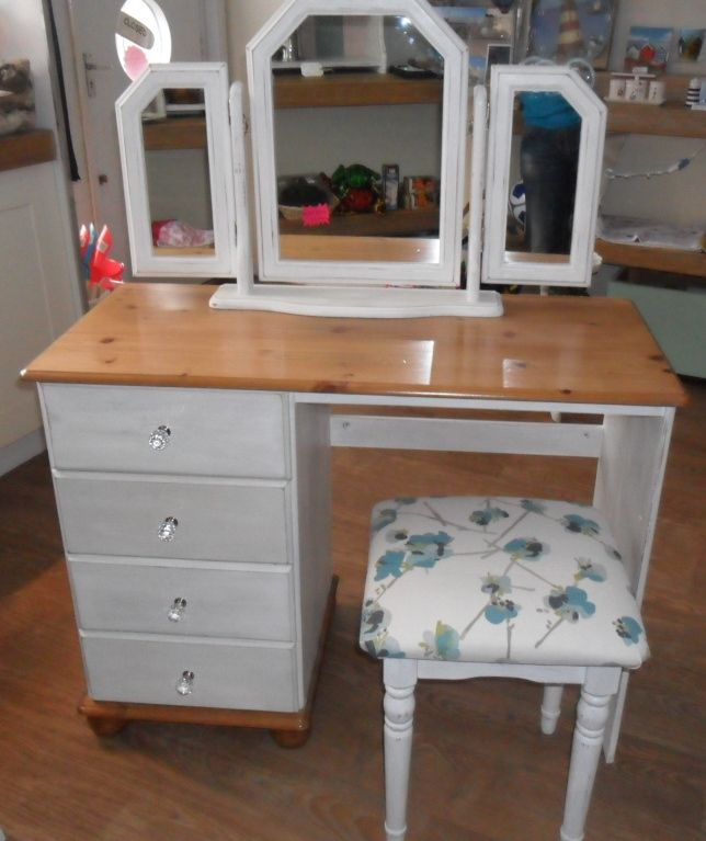 Shabby Chic pine dressing table, crystal knobs, newly upholstered stool and mirror set. Finished in chalk paint and wax
