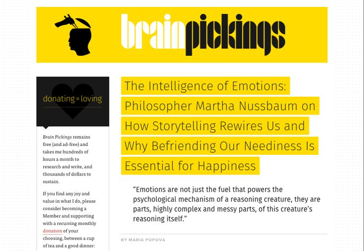 The Intelligence of Emotions: Philosopher Martha Nussbaum on How Storytelling Rewires Us and Why Befriending Our Neediness Is Essential for Happiness | Brain Pickings