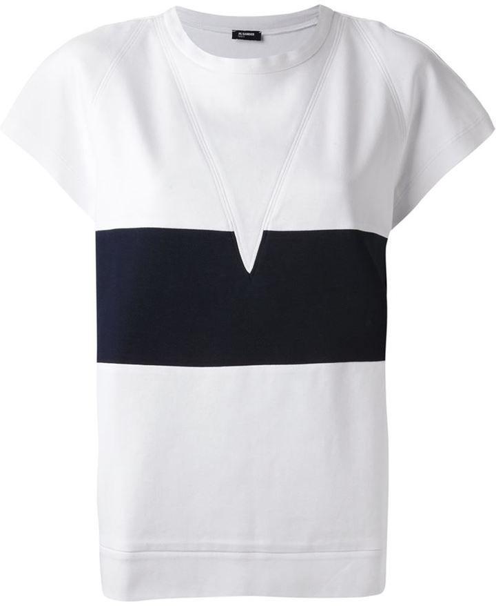 Jil Sander Navy block stripe crew neck T-shirt