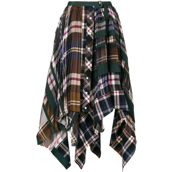 Sacai Plaid and Pleated Asymmetrical Skirt (£870) ❤ liked on Polyvore featuring skirts, kirna zabete, kzloves /, prints please, sacai, patterned skirts, knee length pleated skirt, plaid skirt and asymmetrical hem skirts