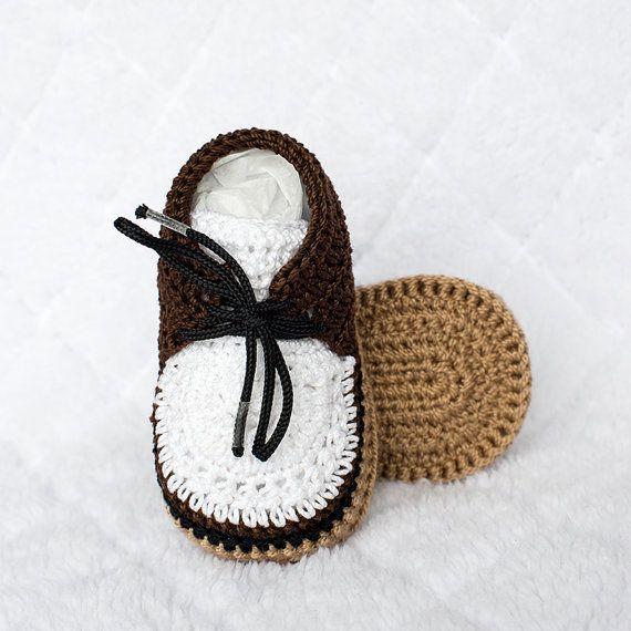 Crochet Boy Shoes, Boy Shoes, Baby Boy Shoes, Boy Booties, Brown Boy ...
