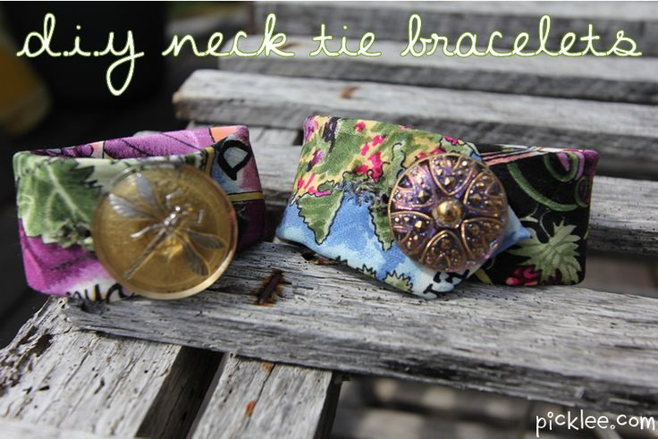 Recycle old neck ties, make these bracelets!