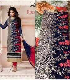 Buy new blue embroidred semi-stitched cotton salwar suit semi-stitched-salwar-suit online