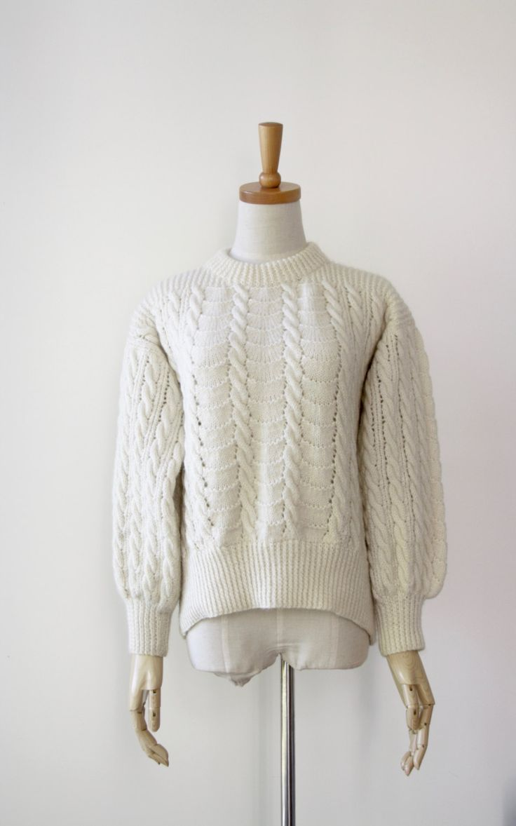 Cream wool fishermans sweater. Handknit jumper. Woollen pullover. New Zealand wool sweater. Handmade chunky sweater. Cable knit jumper by ForestHillTradingCo on Etsy