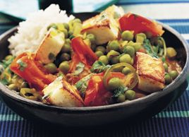 Paneer is an Indian cheese, similar to ricotta but drier. It is often combined with peas in a curry. This delicious version uses homemade paneer, which is simple to make. The cheese is also high in protein, making it a useful meat substitute in vegetarian meals. Serve the curry with basmati rice and steamed fresh carrots for colour.