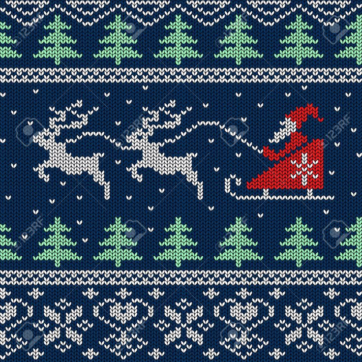 Christmas And New Year Knitted Seamless Pattern Or Card With.. Royalty Free Cliparts, Vectors, And Stock Illustration. Pic 23989197.