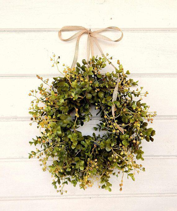 Farmhouse Wreath-Fall Wreath-MINI Window Wreath-Eucalyptus Wreath-Fixer Upper-Farmhouse Decor-Boxwood Wreath-Wall Decor-Small Wreath-Gifts #farmhouse #ad #homedecor
