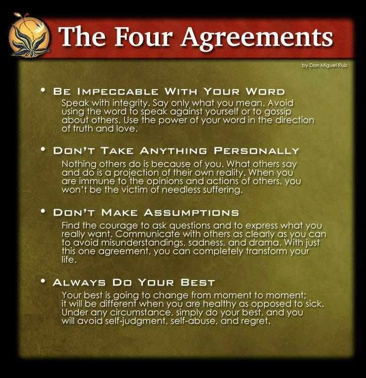 the four agreements essay Cover of the four agreements by don miguel ruiz i dread conflict in fact, when i  know a confrontation is imminent, it's all i can think about.