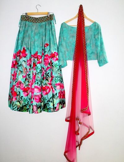 teal lehenga, floral print lehenga, hot pink and teal lehenga, net dupatta