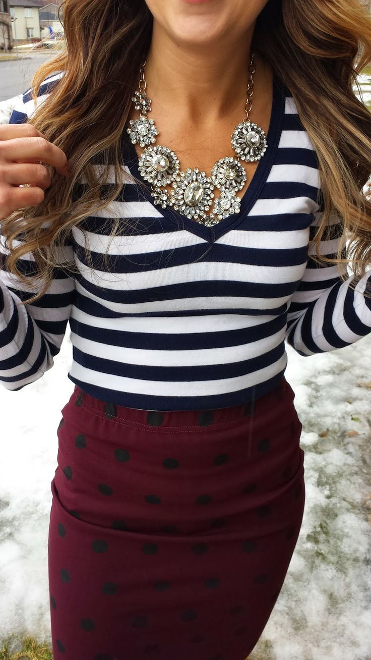 Subtle polka dots on skirt plus striped top and sparkle!
