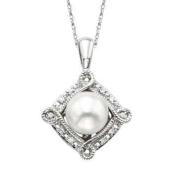 Simply+Vera+Vera+Wang+Freshwater+Cultured+Pearl+&+Diamond+Accent+Sterling+Silver+Frame+Pendant+Necklace