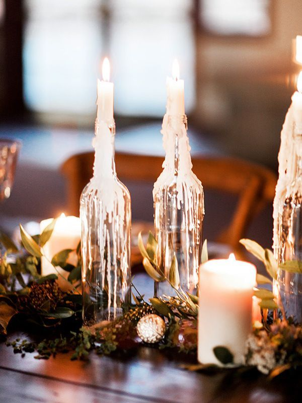 Beautiful table runner idea for a winter wedding. You could even make these wine bottle candles yourself! (Bottle Top Center Pieces)