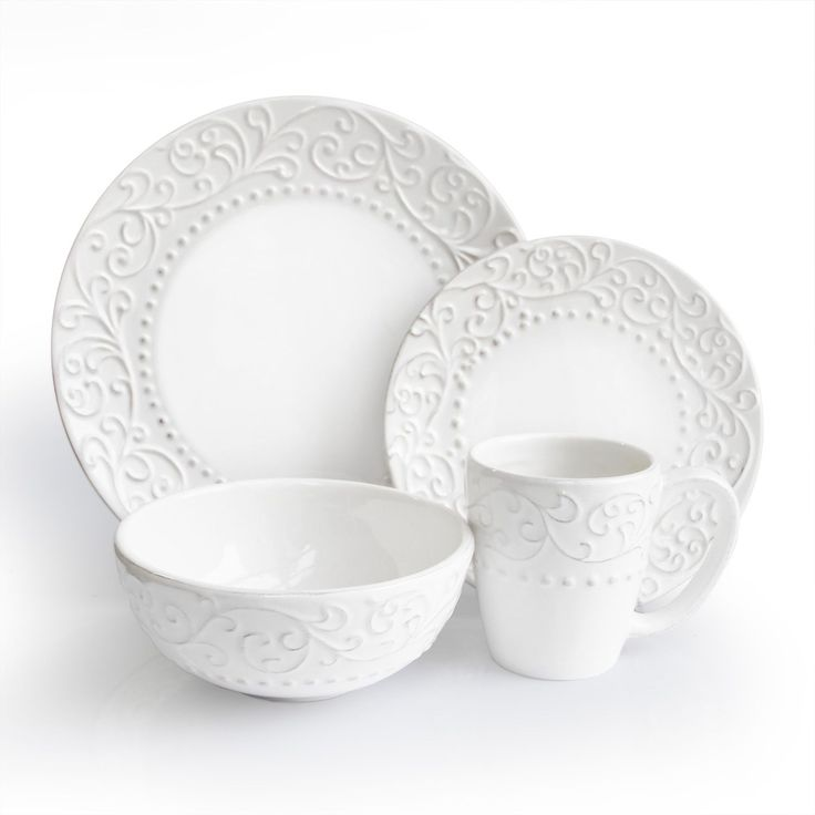 This Bianca White dinnerware set from American Atelier has a classic simple design. Elegant  sc 1 st  Pinterest & 12 best Dishes images on Pinterest | Workshop Dish sets and Casual ...