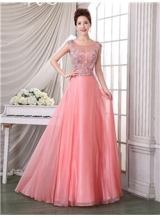 Fall Summer Floor-Length Chic & Modern Scoop Sleeveless Natural Evening Dress