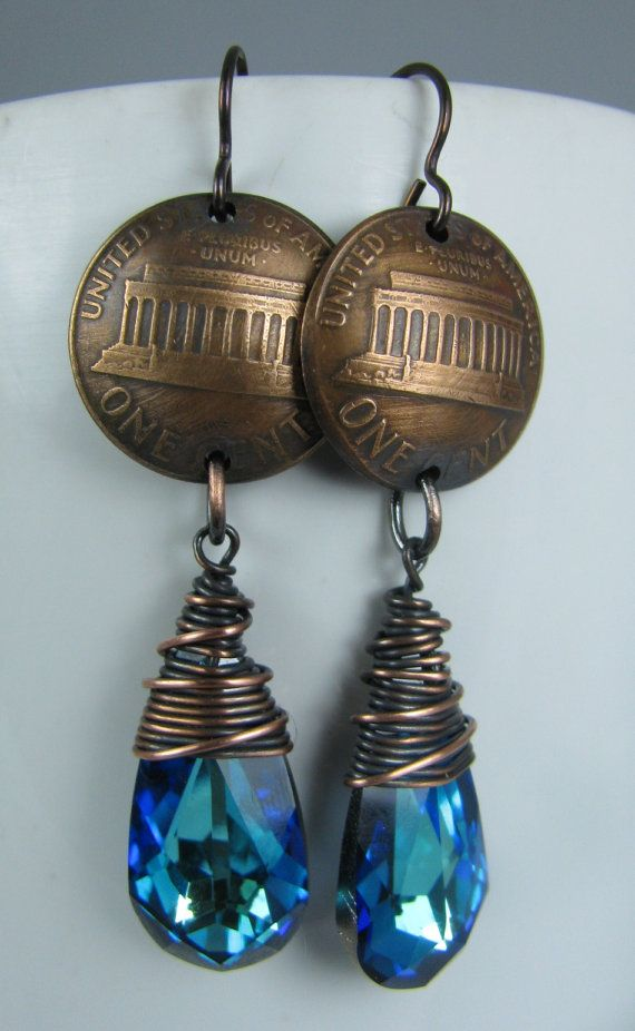 Copper Wire Wrapped Bermuda Blue Swarovski Love the color...and the dapped pennies up top.