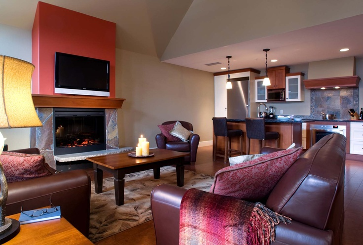 Living room in a suite at Solara Resort & Spa in Canmore, AB!