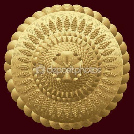 Мандала золото. Круглый орнамент шаблон. Старинные декоративные элементы. Шаблон Восток, арабский, индийский. Может использоваться для ткани дизайн, печать, лепнина, брошь, драгоценность. Векторные иллюстрации — стоковая иллюстрация #105926234