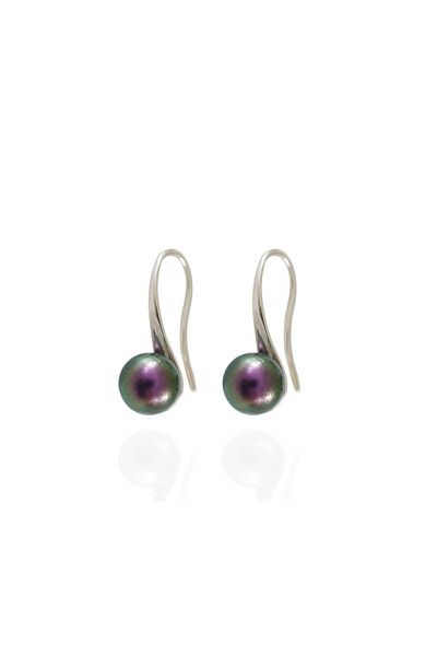 "BeHold øreringe med Swarovski krystalperle i ""IridescentPurple"""